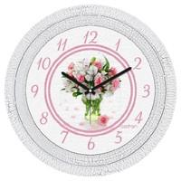 Cadran Dekoratif Vintage Duvar Saati Çatlak Desen Çiçek 1108-40