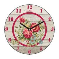 Cadran Retro Vintage Bombeli Cam Duvar Saati Ahşap Desen Çiçekler 140-19
