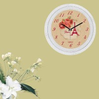 Cadran Dekoratif Vintage Çatlak Desen Duvar Saati Kırmızı Güller Eyfel 141