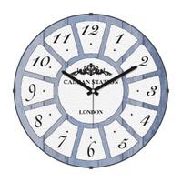 Cadran Retro Vintage Bombeli Cam Duvar Saati Ahşap Desen Beyaz Dilimler 140-2