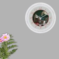 Cadran Dekoratif Vintage Çatlak Desen Duvar Saati Demlik Çiçek 172