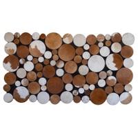 Tappeto E x clusive Planet Deri Patchwork Karamel Halı - 80 x 150 cm