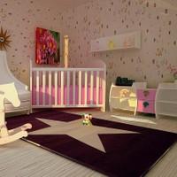Poypoy Poypoy Süperstar Mor Beyaz Çocuk Halısı 100 x 150 cm