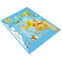 Jungle`S World Jungle`S World 73 Dünya Haritası Eğitici Çocuk Halısı 100 x 140 cm