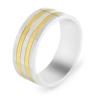 Chavin Gümüş ve Altın Kaplama Titanyum Yüzük ct57