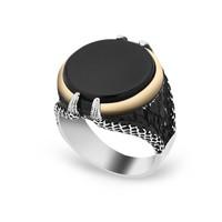 Chavin Siyah Oniks Taşlı Pençe Gümüş Erkek Yüzük df57
