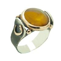 Chavin Kehribar Taşlı Vav Gümüş Erkek Yüzük cp47