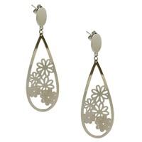 Chavin Çiçek Desen Çelik Bayan Küpe au52