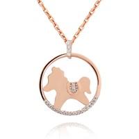 Chavin At dizayn Rose Altın Kaplama Gümüş Kolye cs06