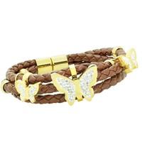 Chavin Taşlı Kelebekler 3 sıra Deri Çelik Bileklik cp17