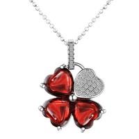 Chavin Kırmızı Kalp Taşlı Papatya Gümüş Bayan Kolye cy56