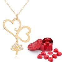 Chavin Aşık Kalpler, Hayat Ağacı Altın Kolye Çikolatalar de52