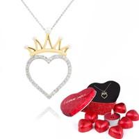 Chavin Altın,Taşlı Kraliçe Tacı Kalp Kolye ,Çikolatalı cs19cklt