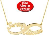 Chavin Gümüş-Altın 2'li Sonsuzluk isim-isimli kolye ce91sr