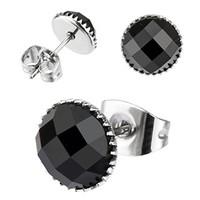Chavin Unisex Yuvarlak Siyah Taşlı Çelik Küpe cm22-7