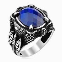Chavin Diriliş Kartal Pençesi Mavi Taş Gümüş Erkek Yüzük df88