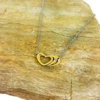 Chavin Pırlanta Taşlı Altın Kap. Kalpler Çelik Kolye au27