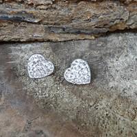 Chavin Zirkon Taşlı Kalp Çelik Küpe ae55by