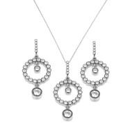 Chavin Rose Kaplama Elmas Tasarım Gümüş Kolye Ve Küpe Set cp56