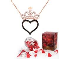 Chavin Kalp Kraliçe Tacı Taşlı Gümüş Kolye ve Aşk Kavanozu cs81
