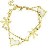 Chavin Altın Kap. Kalp ve Çiçek Çelik Bileklik cn68