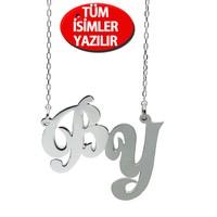 Chavin 2'li Harf Parlak ve Mat İsim Özel Gümüş Kolye cu27