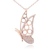 Chavin Taşlı Rose Kelebek Gümüş Bayan Kolye cu57
