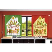 Orange Venue Orange Venue Home Sweet Home Desenli Çift Kanatlı 3D Baskılı Fon Perde | 145x180 cm