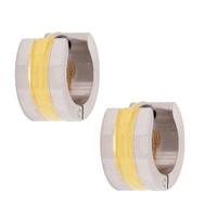 Chavin Çift Renk Halka Unisex Çelik Küpe, Altın Kaplama ad55