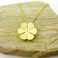Chavin , Altın Kaplama Taşlı Çiçek Bayan kolye ap07