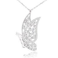 Chavin Beyaz Taşlı Kelebek Gümüş Bayan Kolye cu46