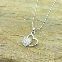 Chavin Zirkon Taşlı Kalpler , Gümüş Bayan Kolye ag88