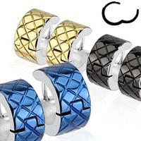 Chavin Bayan-Erkek Sarı Lazer İşleme Çelik Halka Küpe cm21sr