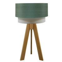 Crea Lighting Doubleshade Naturel Tripod Abajur Wood - Yeşil Armut