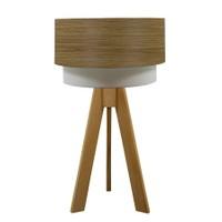 Crea Lighting Doubleshade Naturel Tripod Abajur Wood - Koyu Meşe