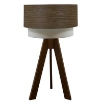 Crea Lighting Doubleshade Ceviz Tripod Abajur Wood - Natural Alpi