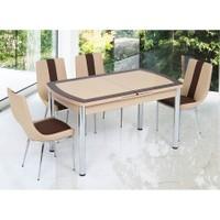 Gül Masa Oval Kelebek Masa Sandalye Takımı 6 Sandalyeli Sanpa Kapuçino Kahve Bantlı