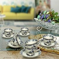 Vitale 12 Parça Mavi İşlemeli Kahve Fincanı Seti