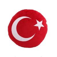 Türk Bayrağı Desenli Peluş Yastık