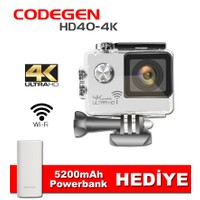 Codegen HD40-4K Ultra HD Araç/Aksiyon Kamerası Beyaz- 5200mAh Powerbank Hediyeli