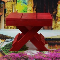 Cosiness Ahşap Dekoratif Mini Biblo Masa - Kırmızı