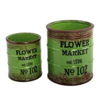 Yedifil 2'Li Yeşil Çiçek Market Dekoratif Saksı