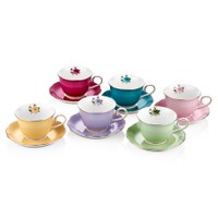 Cemile Asorti Renkli Çiçekli 6 Lı Çay Fincanı (6)