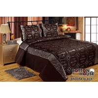 Cotton House Saten Pullu Çift Kişlik Yatak Örtüsü - Andora Black