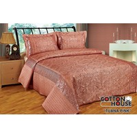 Cotton House Nubuk Pullu Çift Kişlik Yatak Örtüsü - Tuana Pink