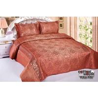 Cotton House Saten Pullu Çift Kişlik Yatak Örtüsü - Perla Pink