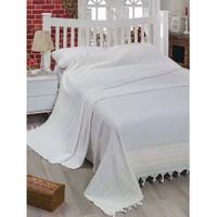 Eponj Home Lüx Geniş Yatak Örtüsü Bodrum Beyaz-Sarı