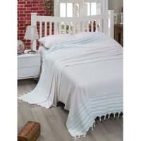 Eponj Home Lüx Geniş Yatak Örtüsü Bodrum Beyaz-Mint