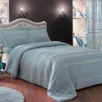 Taç Dreamy Çift Kişilik Polyester Yatak Örtüsü - Mavi