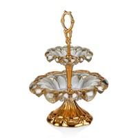 Cemile Altın Kaplama Amber Luster 2 Katlı Küçük Servis